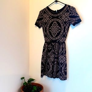 Black Paisley Print Fit & Flare Dress